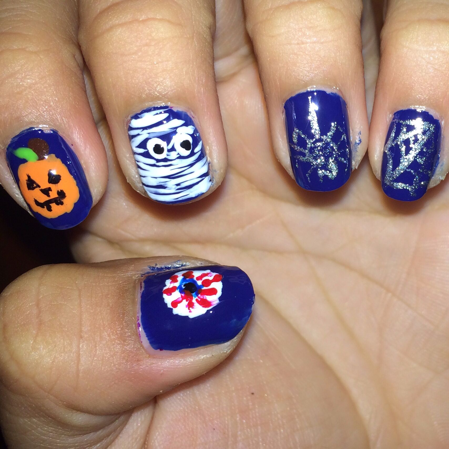 DIY manicure I did for Halloween including nail art spiderweb ...