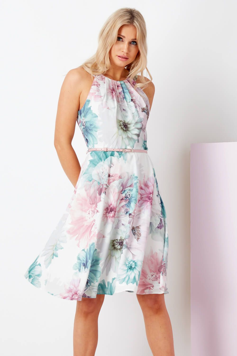 342656724f42 Floral Fit and Flare Dress with Belt - Free UK Delivery - 10 12 14 16 18 20  - - Romanoriginals.co.uk