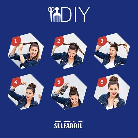 """O coque que é seu amigo no """"bad hair day"""", em uma versão mais elaborada:  1- Faça um rabo-de-cavalo, e divida-o em duas mechas; 2- Enrole cada mecha conforme a imagem; 3- Comece a formar o coque, girando os dois rolos para o mesmo sentido envolta do amarrador; 4- Use grampos para fixar o penteado; 5- O spray fixador também ajudará a mantê-lo intacto durante o dia; 6- Está aí o resultado! Lindo e fácil, né?!  #DIY #Penteado"""