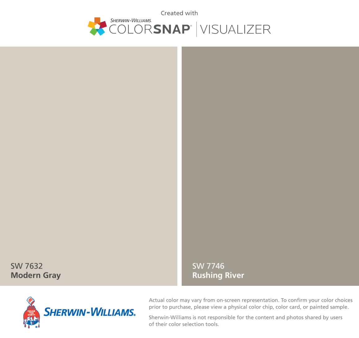 I found these colors with ColorSnap® Visualizer for iPhone by Sherwin-Williams: Modern Gray (SW 7632), Rushing River (SW 7746).