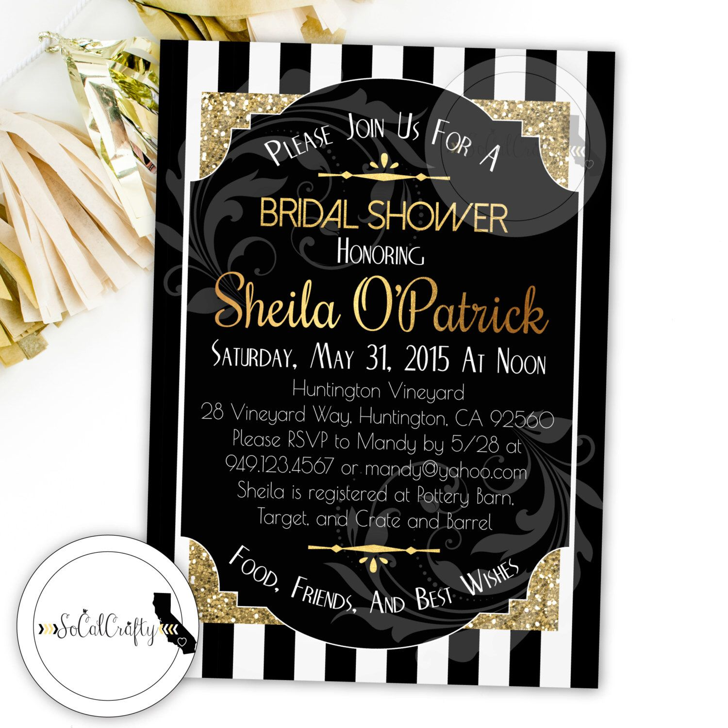 great gatsby bridal shower invitation roaring 20s gold glitter black and white