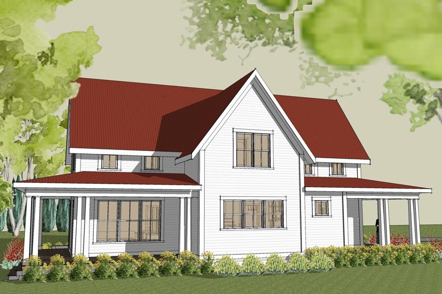 Rear image of simple farmhouse plan with wrap around porch for Farm house plans with photos