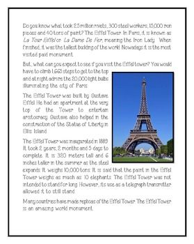 The Eiffel Tower | Reading! | Reading passages, Facts for