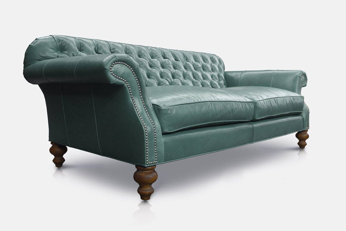 Gallery Leather Chesterfield Sofa Green Leather Chesterfield