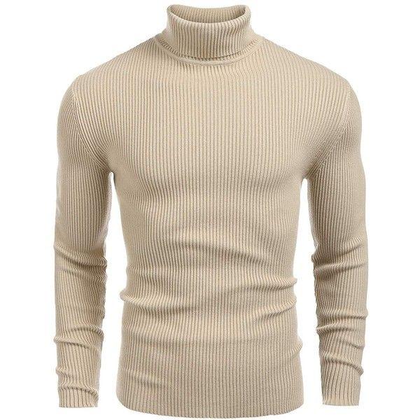 Jinidu Mens Slim Fit Turtleneck Pullover Sweater ($20) ❤ liked on ...