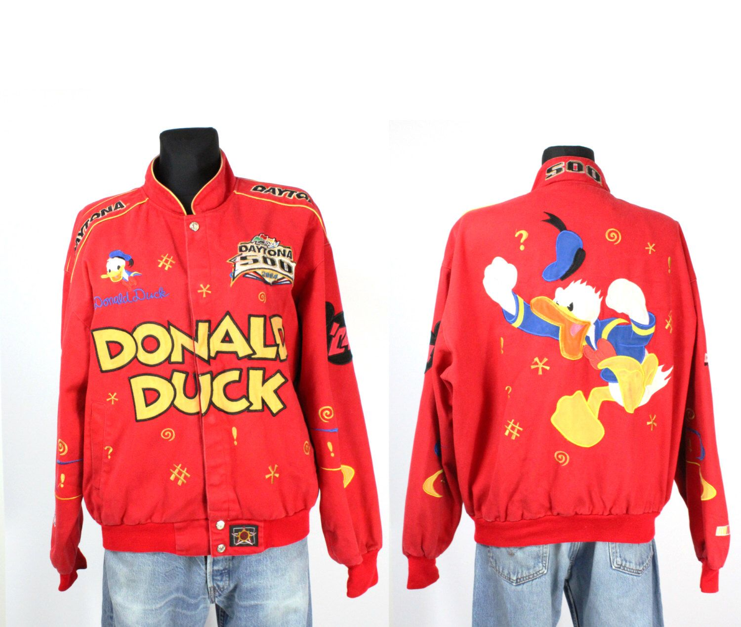 Vintage Donald Duck Dayton 500 Letterman Bomber Jacket Coat Mickey Mouse Disney Cartoon Symbols 90s 80s Nascar Sporty Baggy T Coats Jackets Bomber Jacket Baggy
