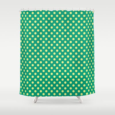 Emerald Green With Yellow Polka Dots Shower Curtain