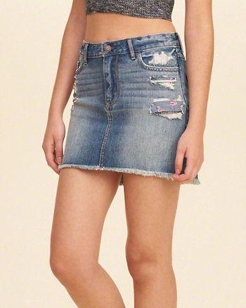 da3d208496533d Low Rise Denim Mini Skirt | Brands - Hollister | Mini skirts, Denim ...