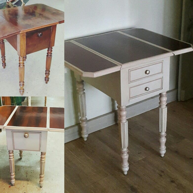 Table à volets placage acajou restaurée! Plateau bois naturel vernis