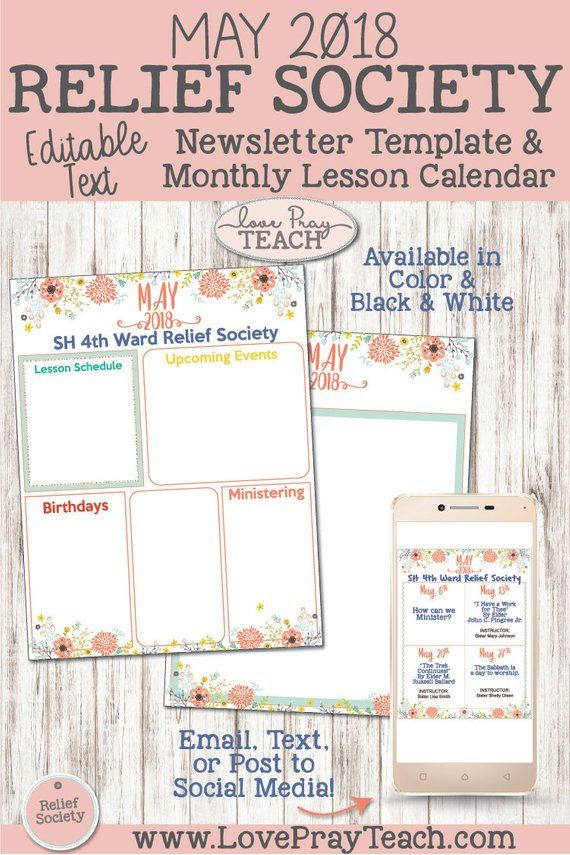 May 2018 Editable Newsletter Template and Relief Society Lesson