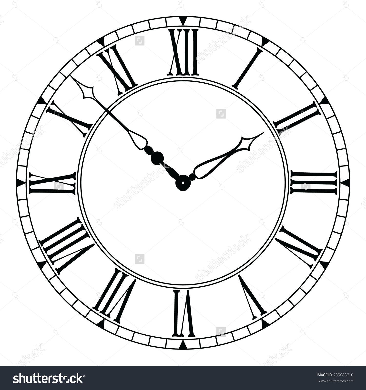 Elegant Roman Numeral Clock Eps 10 Roman Numeral Clock Clock Clock Drawings