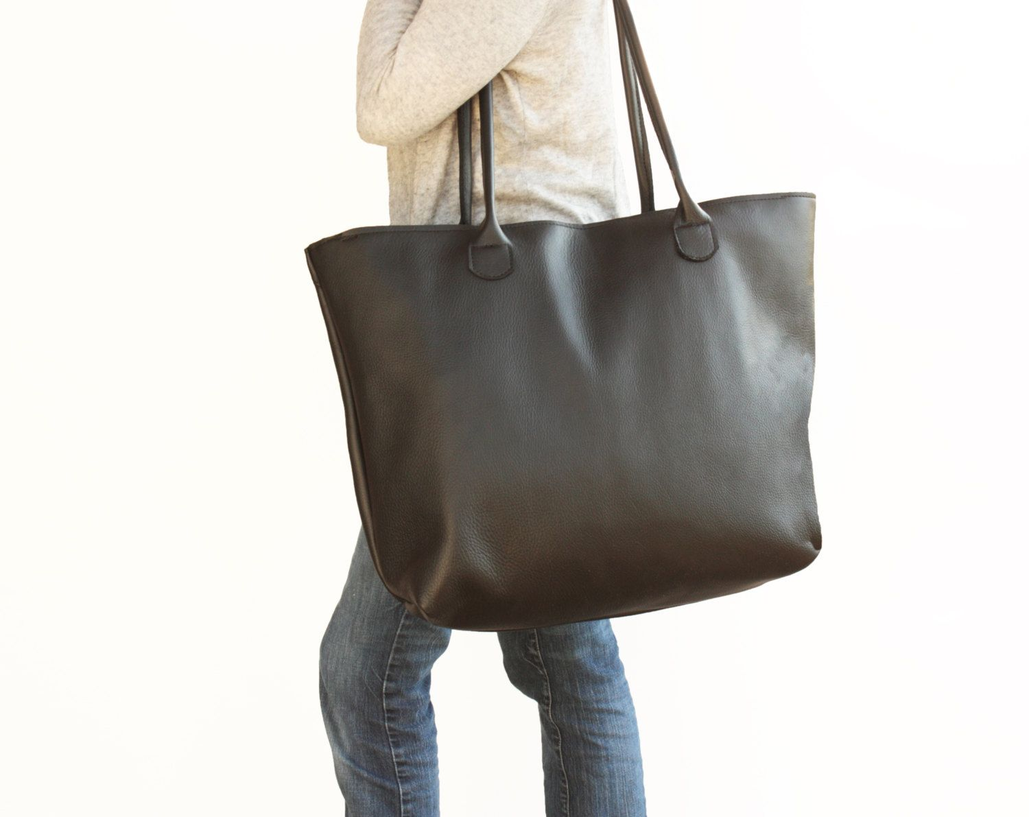Extra Large Black Leather Tote With Zipper Travel Bag