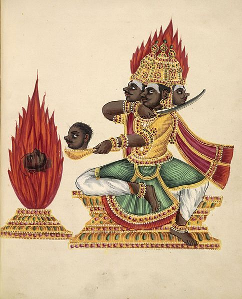 File:The three-headed rakshasa Trishiras sits in lalitasana on a throne facing a fire altar in which a severed head is burning.jpg