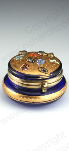 ANTIQUE GLASS BOX. c.1885 MOSER KARLSBAD ENAMELLED COBALT GLASS BOX POT WITH APPLIED ACORNS. To visit my website click here: http://www.richardhoppe.co.uk or for help or information email us here: info@richardhoppe.co.uk