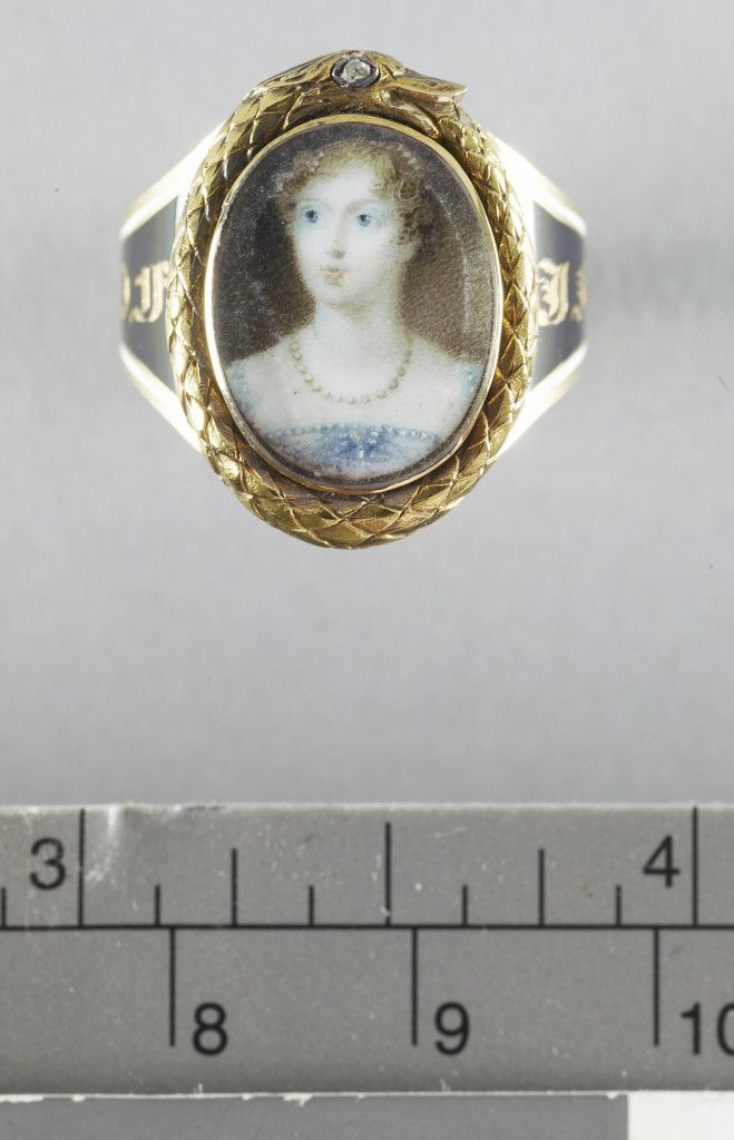 Mourning ring mounted with glazed oval miniature of Princess ...