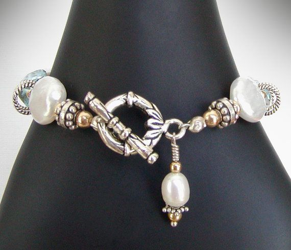 Blue Topaz Bracelet White Coin Pearls by jQjewelrydesigns on Etsy