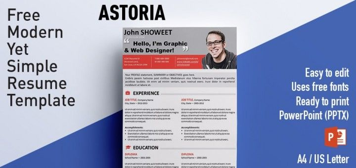 Astoria Clean Powerpoint Resume Cv Template Resume Cv For