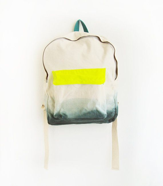 forest green backpack with neon yellow pouch by ziazia on Etsy, $55.00