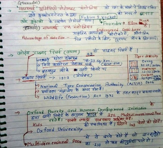 March 2018 Current Affairs Handwritten Notes in Hindi PDF Download