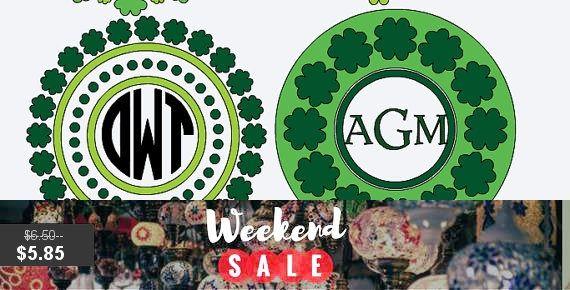 St Patricks Day Vinyl Decal Monogram Shamrock Sticker Name Circle