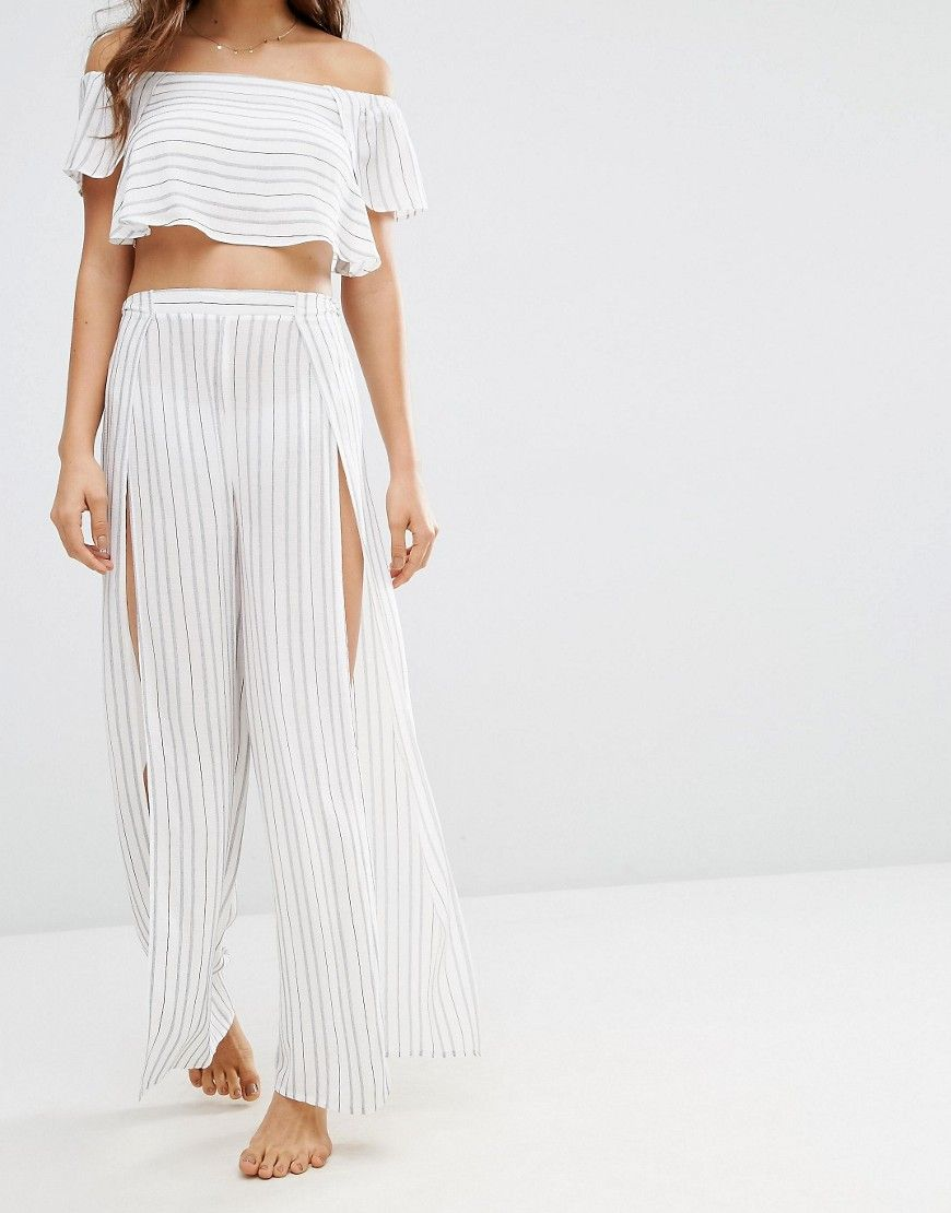 ASOS Stripe Beach Split Wide Leg Beach Trouser Co-ord at asos.com