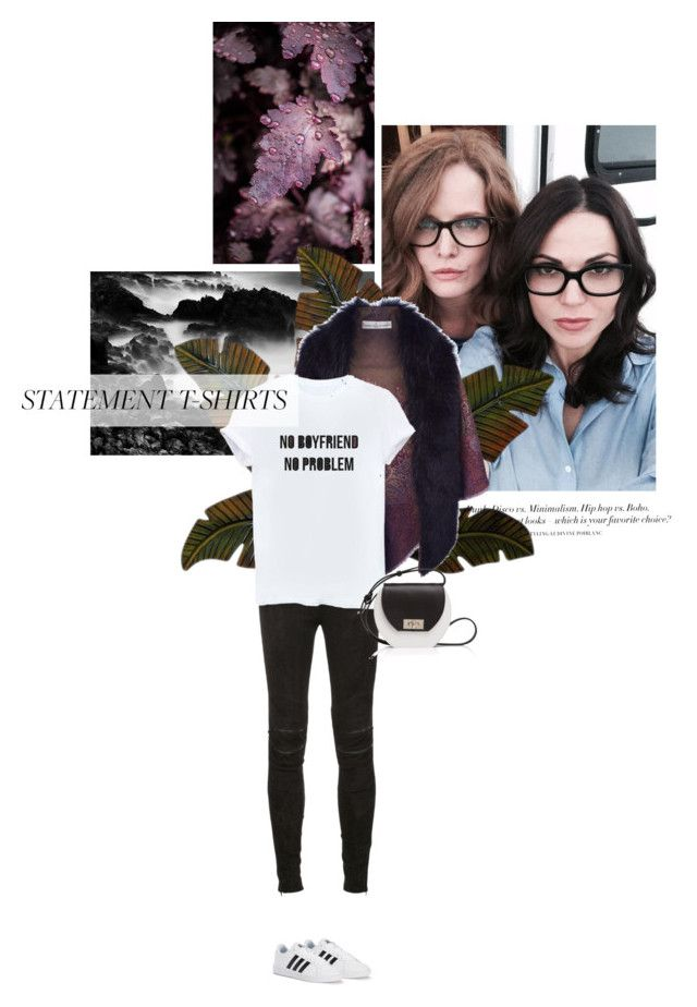 """"""" Admire others' beauty without questioning your own """" by crazydita ❤ liked on Polyvore featuring H&M, Home Decorators Collection, Golden Goose, Yves Saint Laurent, adidas, Joanna Maxham and statementtshirt"""