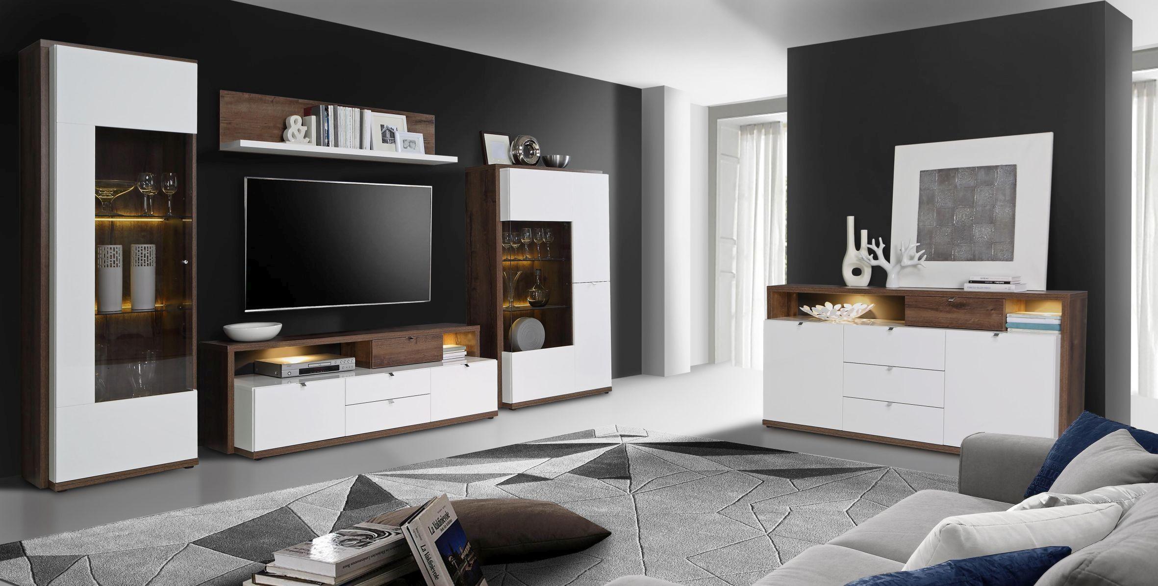 Wohnwand Alcano Braun Weiß Wohnen Möbel Fürs Wohnzimmer