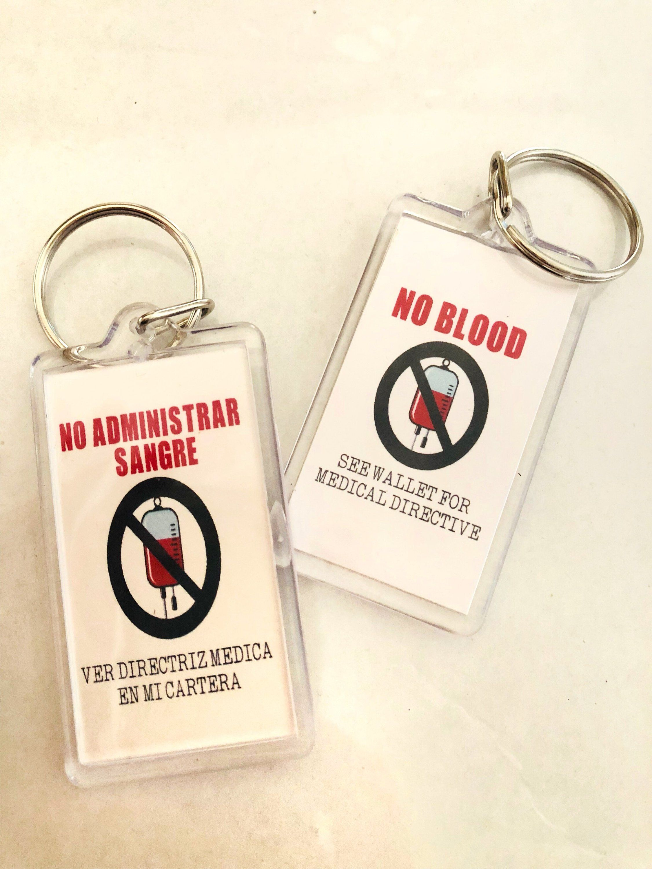 4 Double sided No blood keychain/ No sangre/ Regional