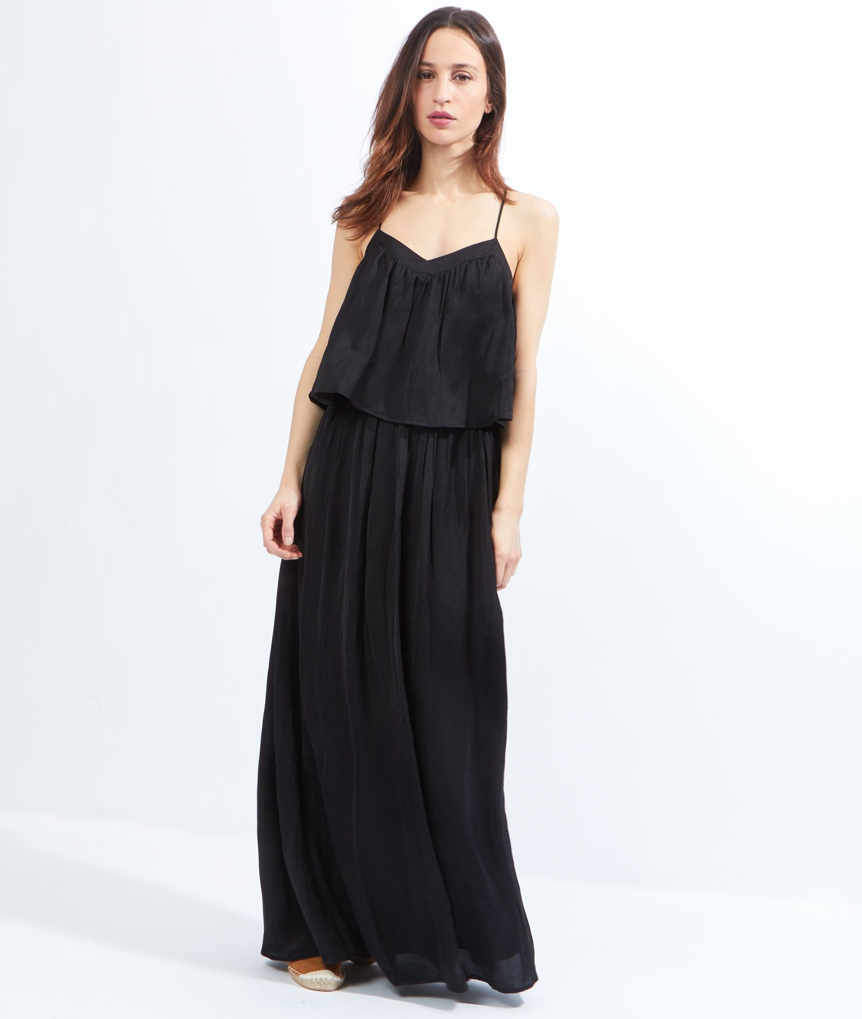 robe longue fluide volants loreta noir etam mode. Black Bedroom Furniture Sets. Home Design Ideas