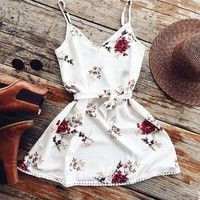 Wish | Sexy Women Casual Deep V-neck Floral Print Mini Dresses