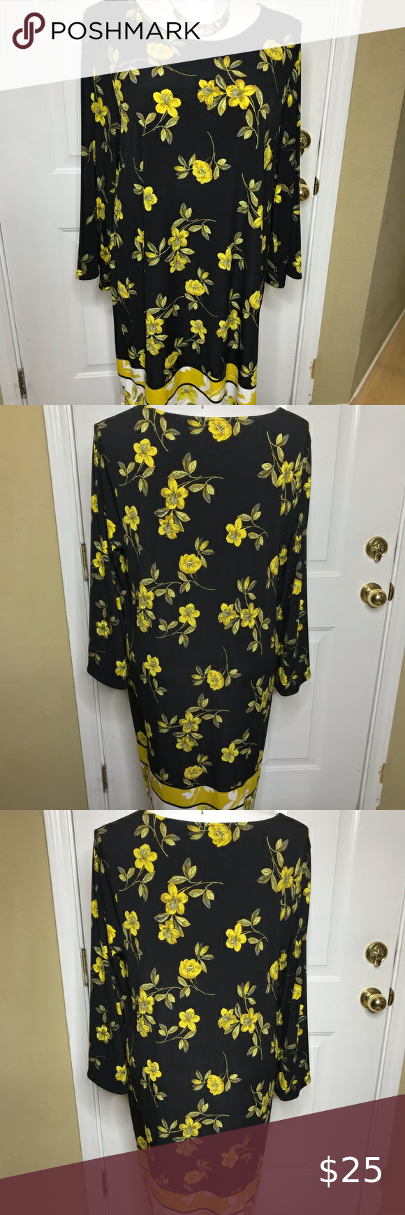 Long Sleeves Black Dress With Yellow Flowers Black Long Sleeve Dress Dresses Black Dress [ 1740 x 580 Pixel ]