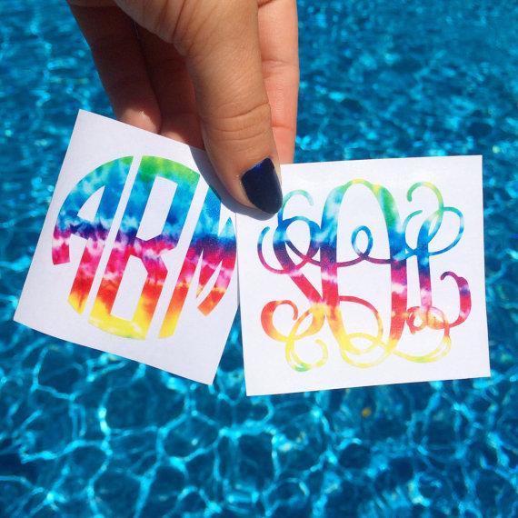 Tie Dye Monogram Decal Sticker Custom Personalized By