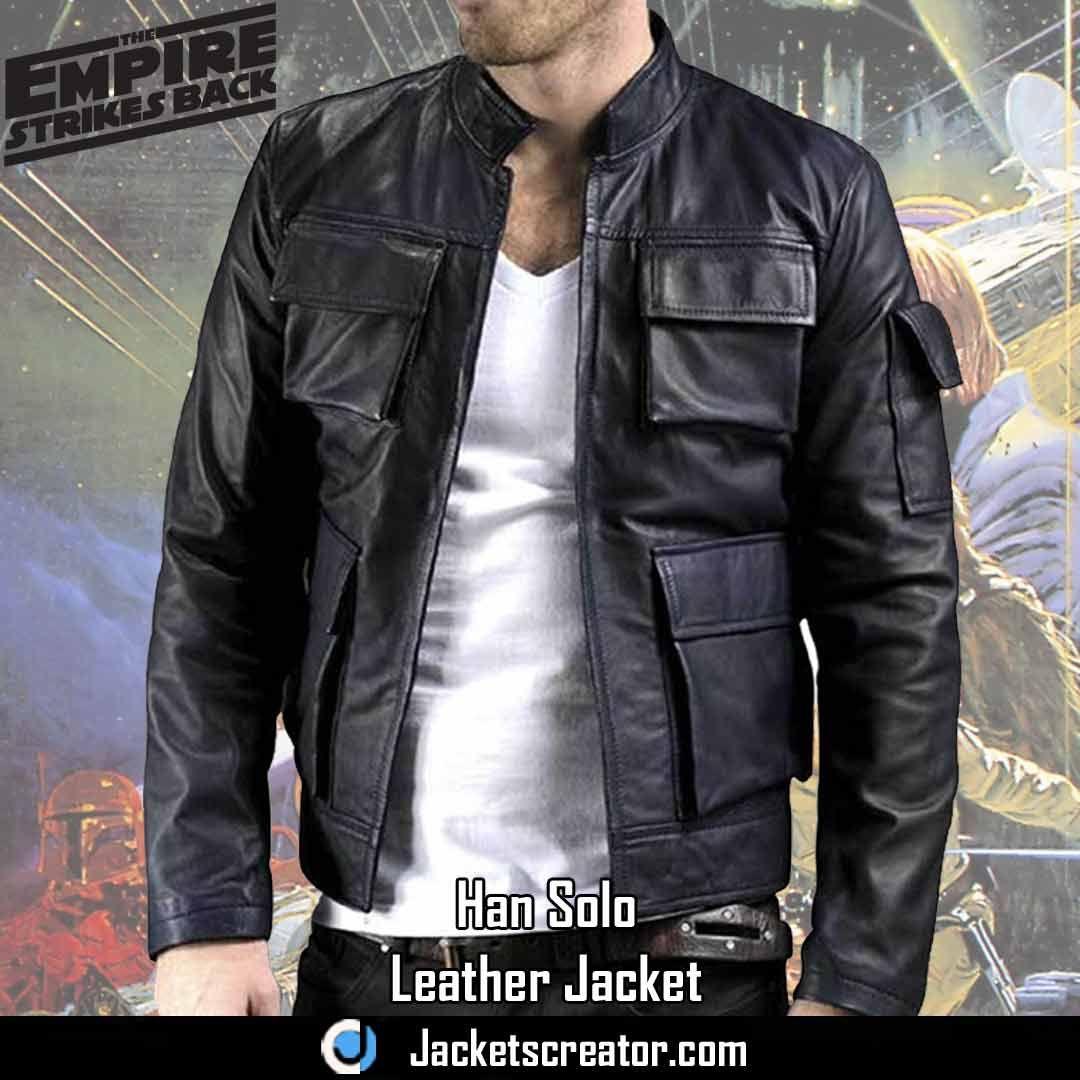 Harrison Ford The Empire Strikes Han Solo Black Jacket Jackets Creator Leather Jacket Jackets Empire Strike [ 1080 x 1080 Pixel ]