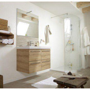Meuble sous-vasque l91 x H577 x P46 cm, imitation chêne, SENSEA - Renovation Meuble En Chene