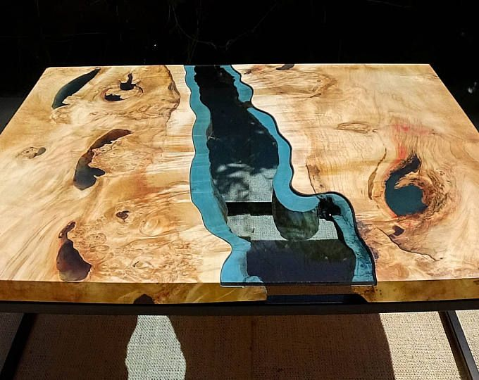 Live Edge River Coffee Table With Dark Blue Epoxy Inlay
