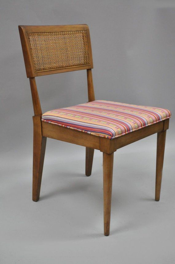 Vintage Mid Century Modern Walnut Cane Back Dining Chairs Paul Solid Walnut Dining Chair Midcentury Modern Dining Chairs Dining Sets Modern