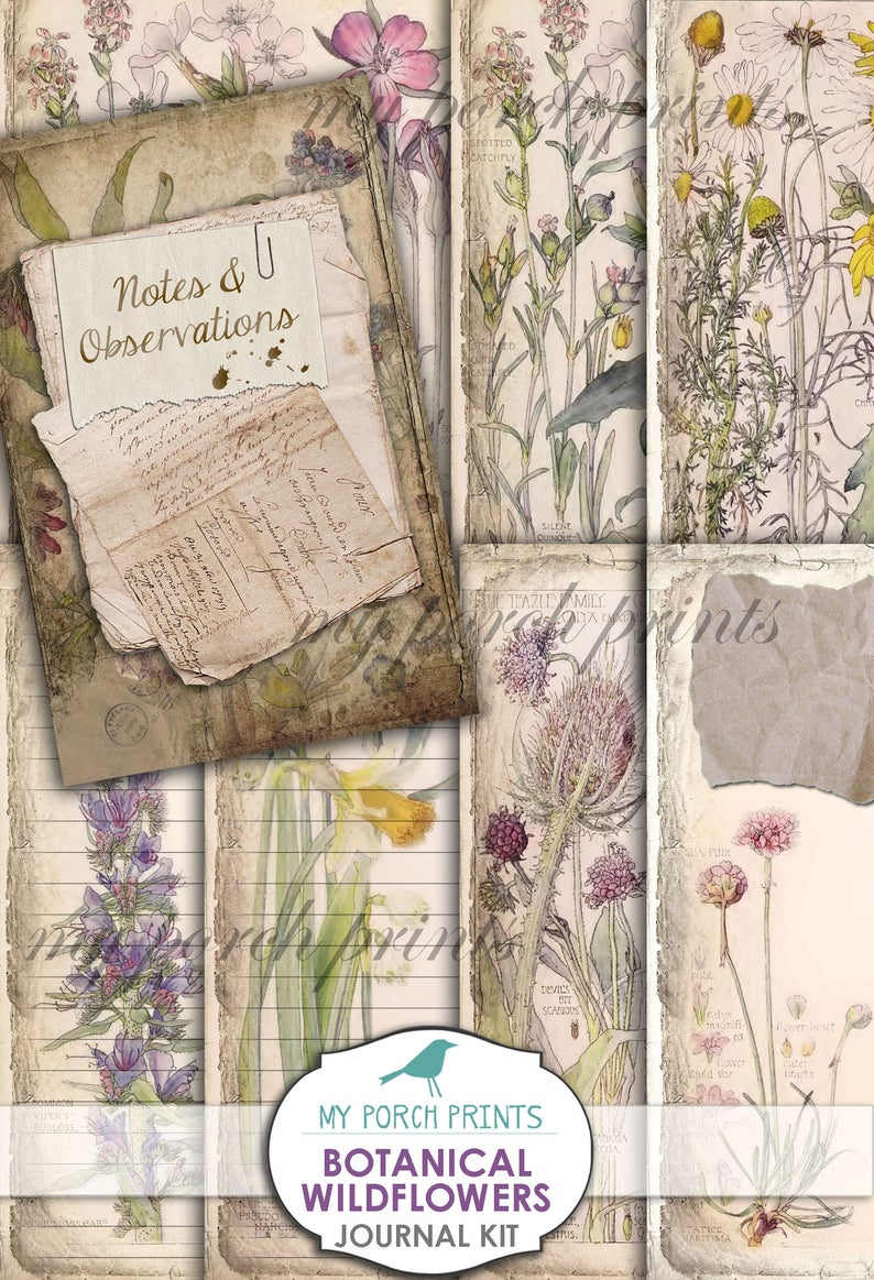 Botanical Wildflowers Junk Journal Kit Pages Papers Etsy Junk Journal Collage Sheet Printable Designs