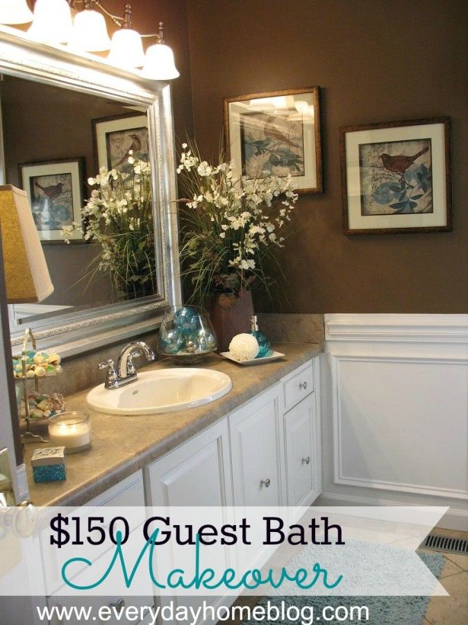 Bathroom Makeover At The Everyday Home Brown Bathroom Decor Brown Bathroom Teal Bathroom Decor