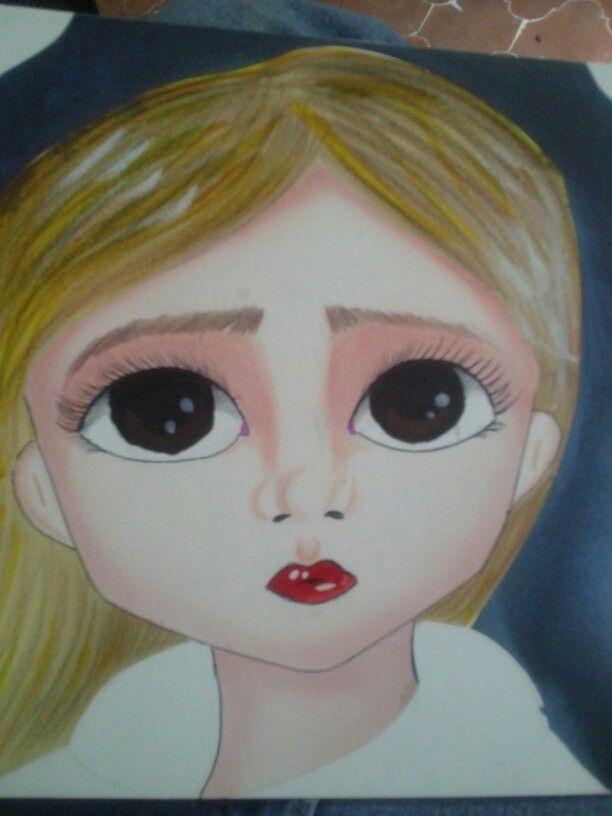 DakotaHD/ La Night . #Ilustracion #Arte #Niña #Noche #Pinceles #Pedidos #Cuadro #Propia #Retrato #Pinturas #Tierna #Eyes #Ojos #Rubia #Animado