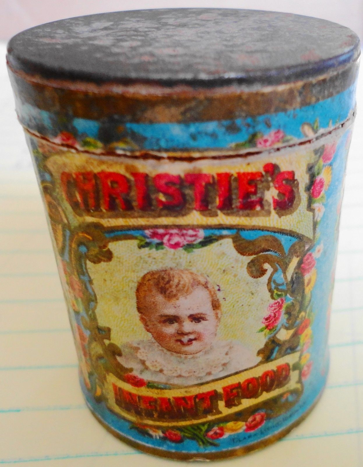 Christies infant food paper label tin a small sample