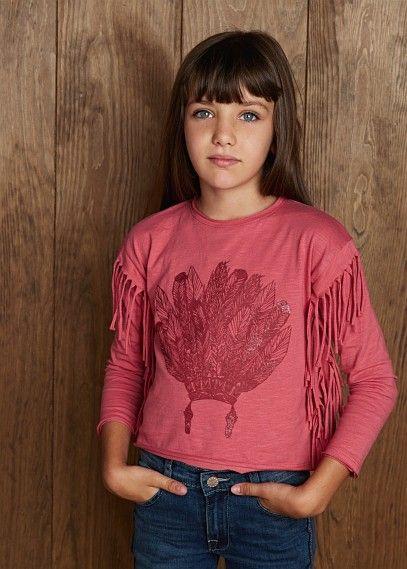 Camiseta purpurina flecos