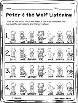 Peter and the Wolf Worksheet by amymusician - Teaching Resources - TES