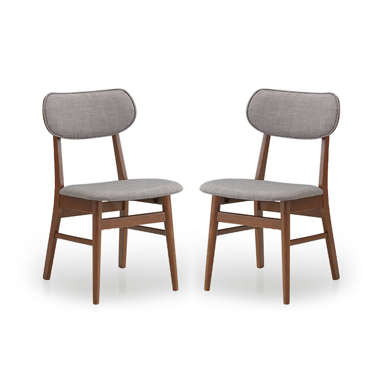 Mid Century Grey Fabric 2-piece Dining Chair Set by Baxton Studio ...