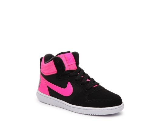 Women's Nike Court Borough Girls Toddler & Youth High-Top Sneaker - Black /Pink