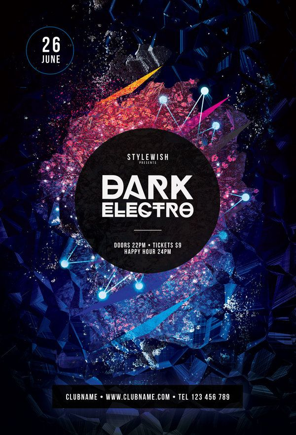 Dark Electro Flyer Template Buy Psd File   Layout Photo