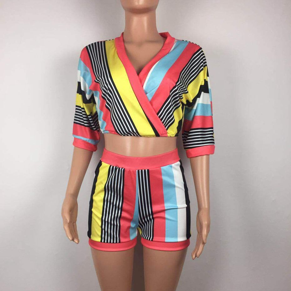 2941bc5ceda Aliexpress.com   Buy HAOYUAN Sexy 2 Piece Set Women Stripe Tops+Bodycon  Shorts Suit Casual Summer Outfits Plus Size Two Piece Matching Sets  Tracksuit from ...