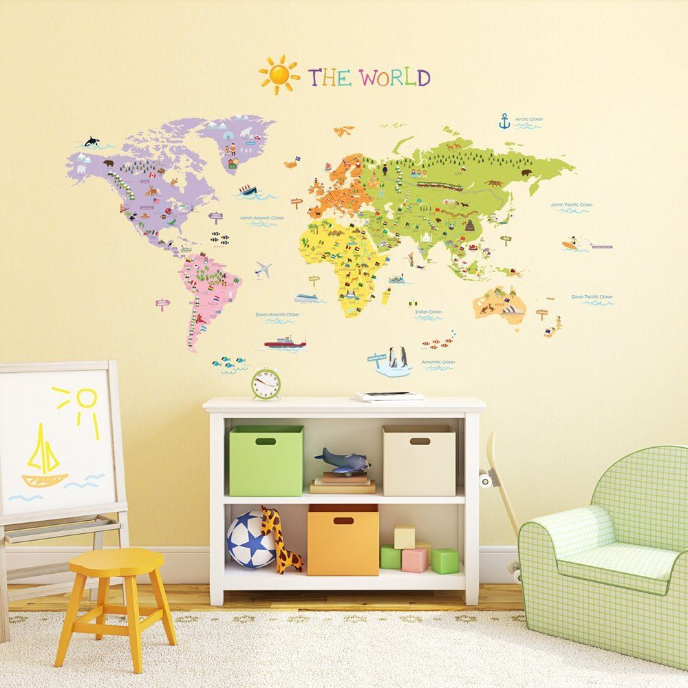 Kids World Map Wall Decals Stickers Great for by HarvyHomewares ...