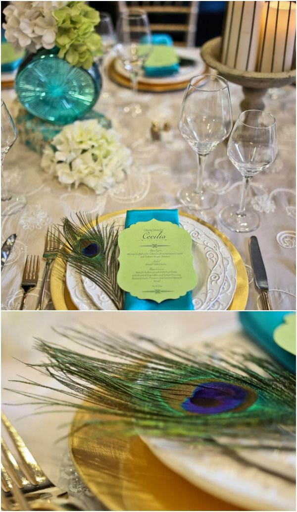 Peacock Feathers Wedding Centerpieces Blue Green Mazelmoments