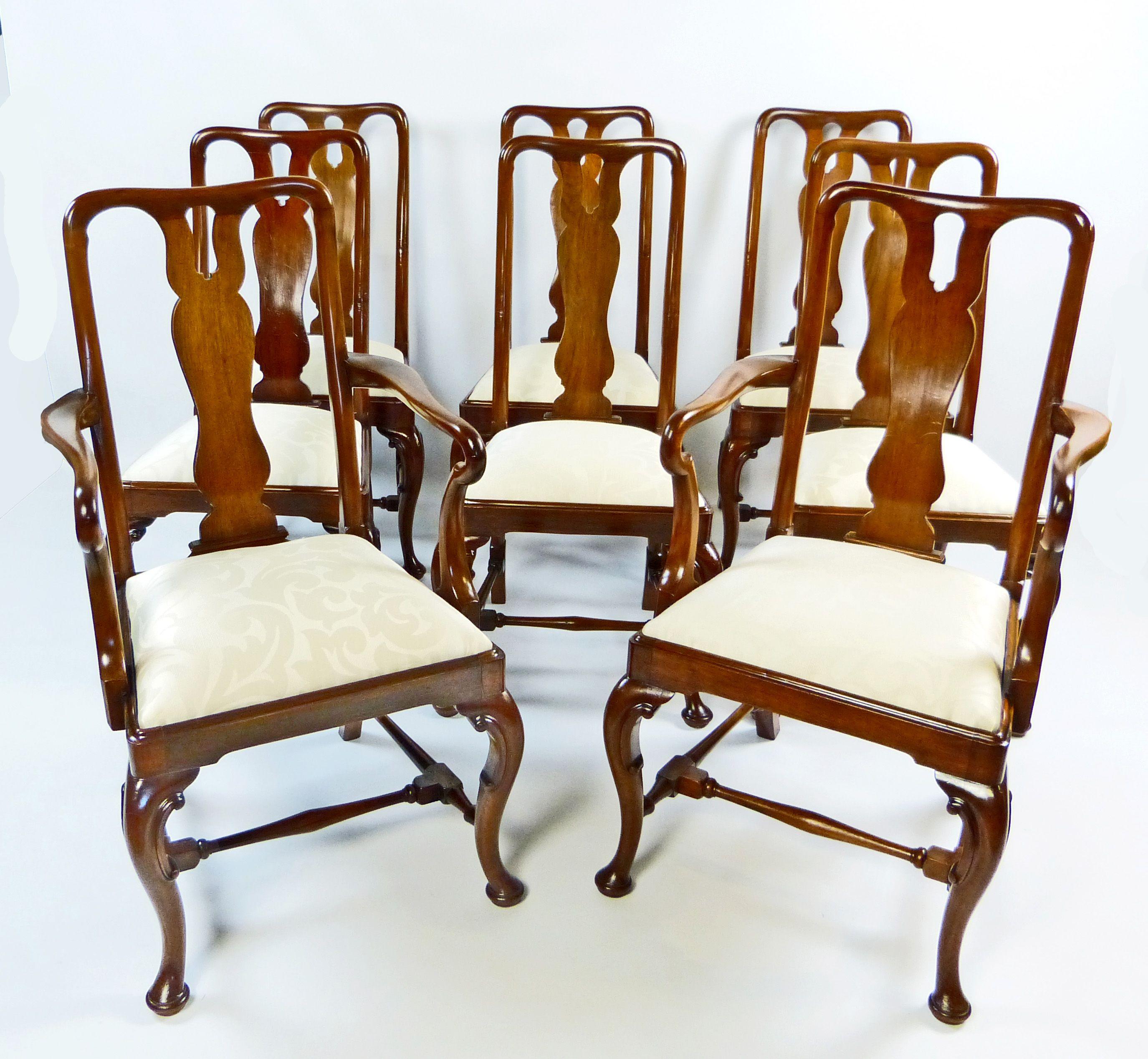 Conjunto de 8 sillas de comedor inglesas de caoba y del estilo reina ...