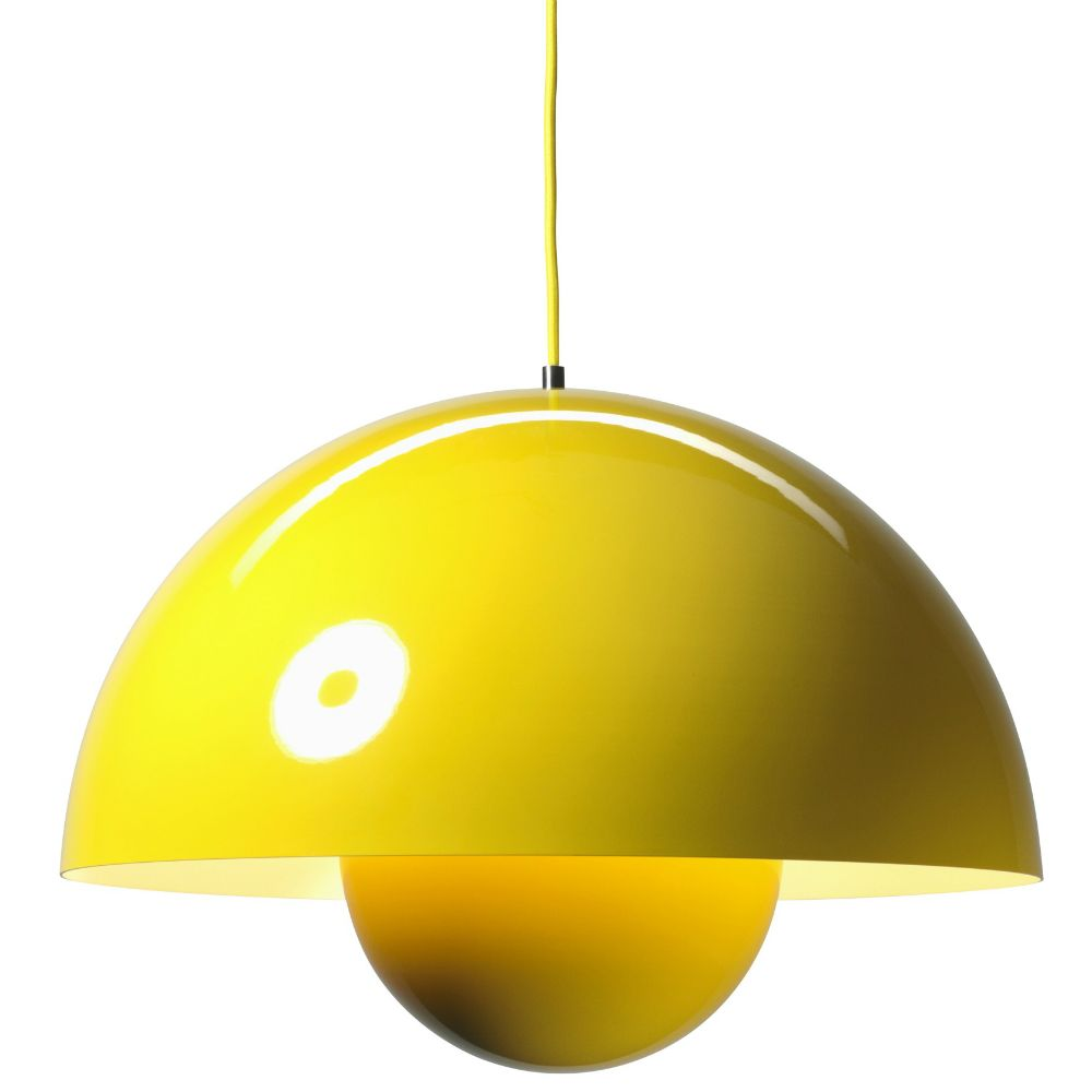 Suspension Grand Modele En Acier Laque Jaune Equipee D Un Cable D Alimentation Jaune Flowerpot Est Devenue Un O Luminaire Luminaire Design Decoration Vintage